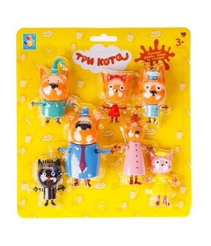 Три Кота набор фигурок, Семья котят с друзьями