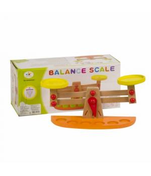 Деревянные игрушечные весы с гирьками