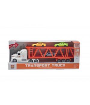 Іграшка фура з трейлером і машинками (біло-червона) WY782B