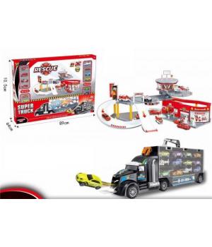 Игрушка грузовик автовоз с набором машинок и паркинг пожарная станция HC227716