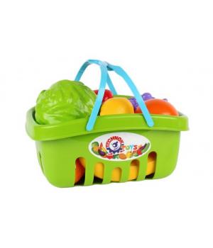 Игрушечные овощи и фрукты для детей, в корзине (салатовый)