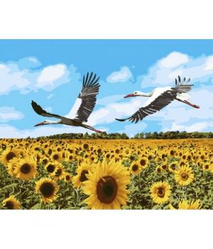 """Картина по номерам """"Аисты в небе"""" ★★★★★ КНО4182 40х50 см"""