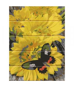 "Картина по номерам на дереве ""Бабочка на цветах"" ASW077 40х30 см"