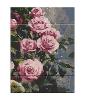 """Картина по номерам на дереве """"Дымчатые розы"""" ASW086 40х30 см"""