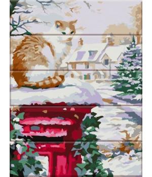 """Картина по номерам на дереве """"Зима пришла"""" ASW091 40х30 см"""