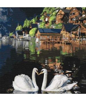"""Картина по номерам """"Волшебные лебеди"""" ★★★★★ КНО4199 30х30 см"""