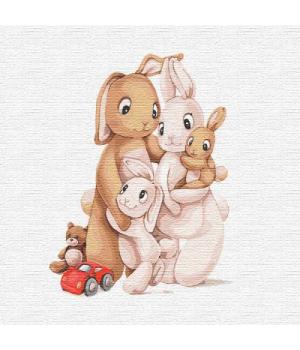 """Картина по номерам """"Маленькая семья кроликов"""" ★★★ КНО2361 30х30 см"""