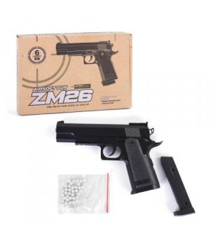 Пистолет игровой металлический на пульках 6мм, ZM26, Airsoft Gun, CYMA