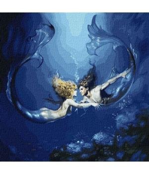 """Картина по номерам """"Подводная любовь с красками металлик"""" ★★★ КНО9526 50х50 см"""
