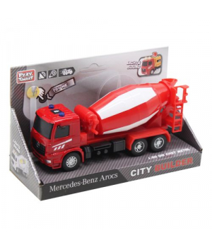 Детская машинка бетономешалка, 17 см, красная