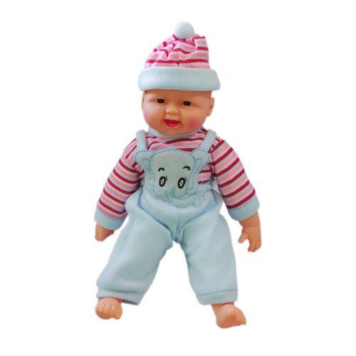 Детский Пупс хохотун в полосатой кофте (в голубом), 40 см X1608-1