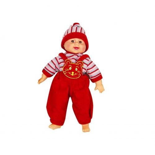Детский Пупс хохотун в полосатой кофте (в красном), 40 см X1608-1