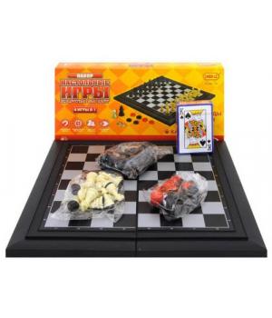 Магнитная игра 4 в 1 (шахматы, шашки, нарды, карты) 8188-13