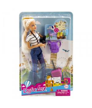 """Детская Кукла """"Defa Lucy: туристка"""" (в белом) 8389"""