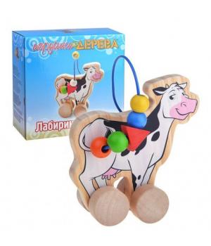 Дереванная игрушка каталка лабиринт, Корова, Д361