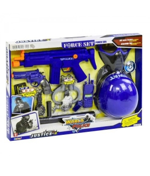 """Игрушечный набор полицейского с автоматом и каской, маской (свет,звук эффекты) """"Justice"""""""