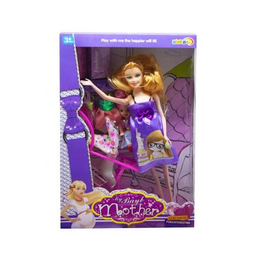 """Игрушка беременная кукла с ребенком """"Мама"""" (в фиолетовом) 5102"""