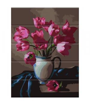 """Картина по номерам на дереве """"Прекрасные тюльпаны"""" ASW083 40х30 см"""