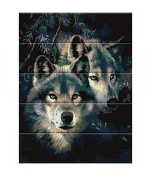 """Картина по номерам на дереве """"Сила волка"""" ASW092 40х30 см"""