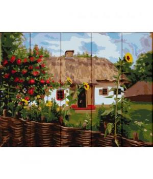 """Картина по номерам на дереве """"Домик в деревне"""" ASW103 40х30 см"""