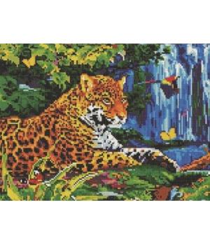 """Алмазная мозаика """"Гепард у водопада"""" EJ307"""