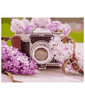 "Картина по номерам ""Фотоаппарат с сиренью"" ★★★★ VA-1080 40х50 см"