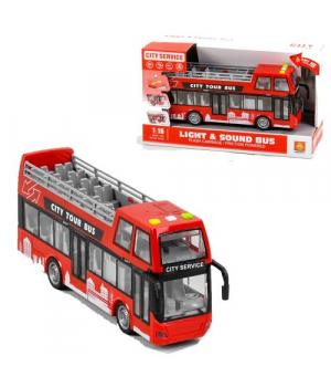Двухэтажный автобус игрушка, 26 см, красный