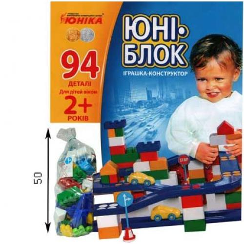 """Детский конструктор с автотреком """"Юни-блок"""" (94 детали), Юника"""