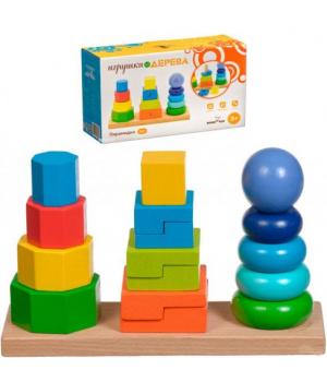 Детская деревянная пирамидка квадраты и прямоугольники, 3 в 1