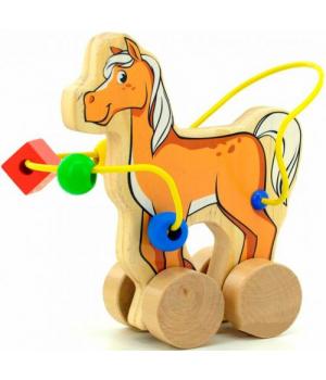 Игрушка лабиринт каталка деревянная, Конь, Д364