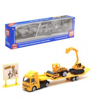 """Іграшка фура з трейлером """"Будтехніка"""", жовта, TH677"""