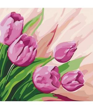"""Картина по номерам """"Персидские тюльпаны"""" ★★ КНО2948 30х30 см"""