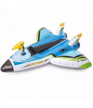 Детский надувной плотик Самолет, с водным пистолетом, синий, Интекс