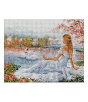 """Алмазная мозаика """"Девушка и лебеди"""" FA40058 40х50 см"""