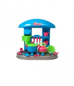 """Детская маленькая кухня с аксессуарами """"Ева"""" (кастрюлька и чайник) 04-407"""