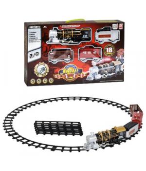 Детская железная дорога с паром (свет,звук эфф..), 18 элементов