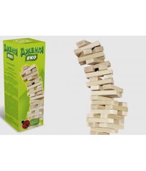 Настольная игра Дженга Эко, Падающаяя башня, 54 деревянных бруска