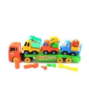 Детская фура с прицепом игрушки, конструктор (3 строительные машины), 8636