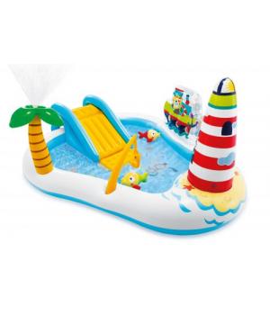 Детский надувной бассейн для дачи, с горкой, Intex