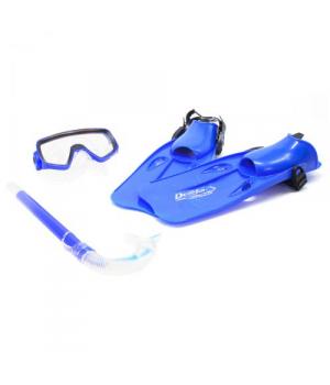 Маска для снорклинга детская (маска, ласты, трубка), синий, Dan Yong