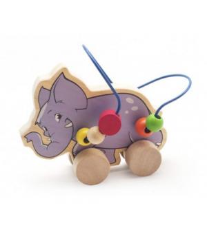 Деревянная игрушка лабиринт каталка, Слон, Д368