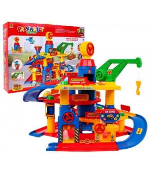 Детский паркинг автостоянка с лифтом мойкой и заправкой, 70 деталей 866-5