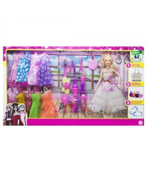 Детская Кукла с комплектом одежды, в белом платье 1055A