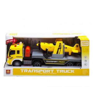 """Іграшка фура з трейлером і літаком """"City Service"""", жовтий WY571E-F"""