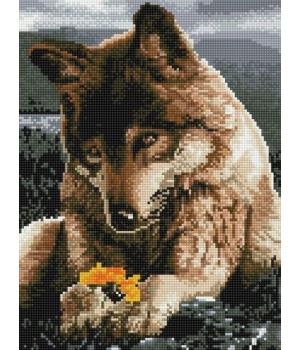 "Алмазная мозаика ""Волчица и цветок"" EJ306"