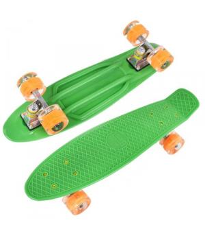 Скейт Пенниборд зеленый, 55 см, колёса PU со светом
