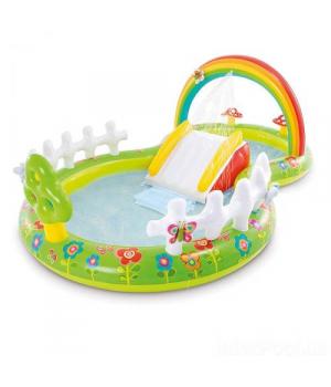 Надувной бассейн с горкой для детей, 290х180х104 см, Intex