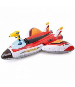 Детский надувной плотик Самолет, с водным пистолетом, красный, Интекс