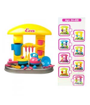 "Детская мини кухня с аксессуарами ""Ева"" (сковородка и чайник) KW-04-408"