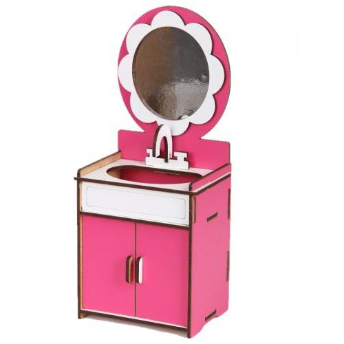 Умывальник деревянный (бело-розовый) Б39